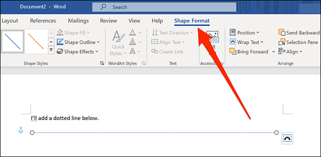 """Click """"Shape Format"""" in the toolbar."""