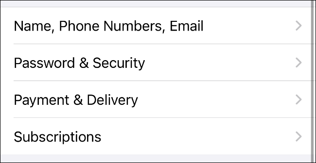 Select Subscriptions in Apple ID Preferences