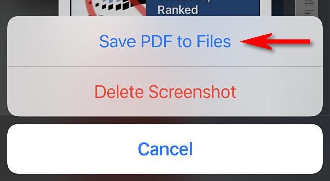 """Tap """"Save PDF to Files."""""""