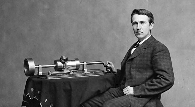 Thomas Edison with his Phonograph ca. 1878