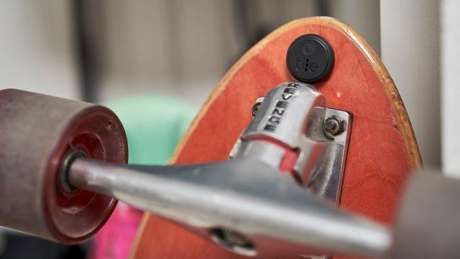 tile sticker on skateboard