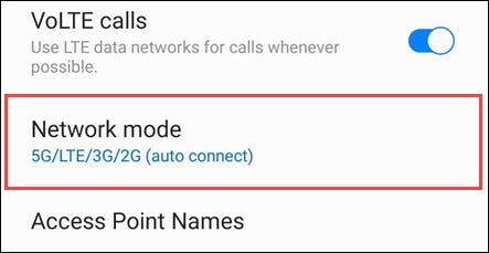 sélectionner le mode réseau