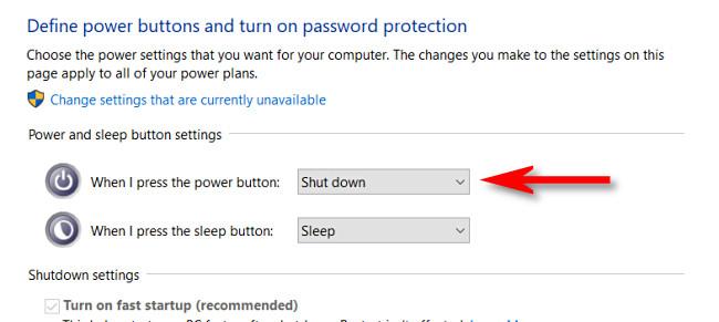"Click the drop-down menu beside ""When I press the power button."""