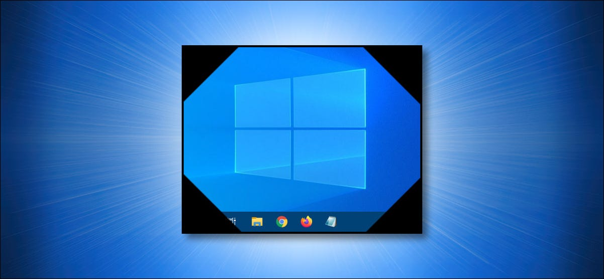 Symbolized Windows 10 desktop on a blue background