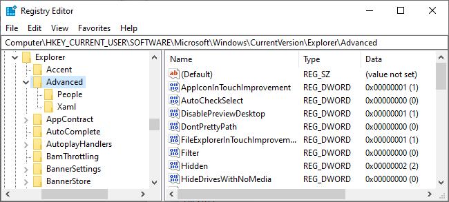 The Registry Editor on Windows 10.