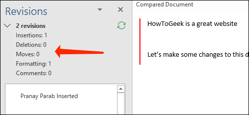 The Revisions pane highlights the kind of changes made to a document