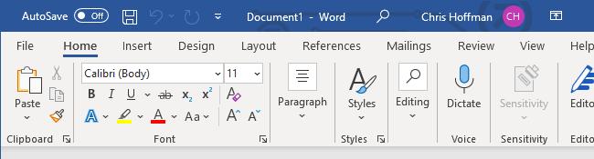 Microsoft Word's formatting toolbar.