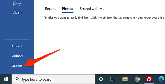 """Select """"Options"""" in Word."""