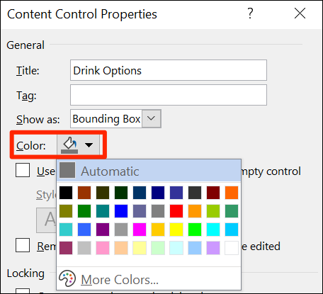 """Select a drop-down list color on Word's """"Content Control Properties"""" window."""