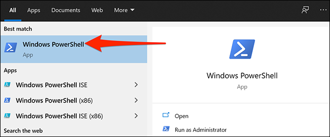 "Select ""Windows PowerShell"" in Windows 10's Start menu."