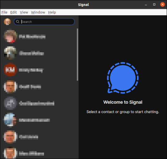 Главное окно настольного клиента Signal со списком контактов