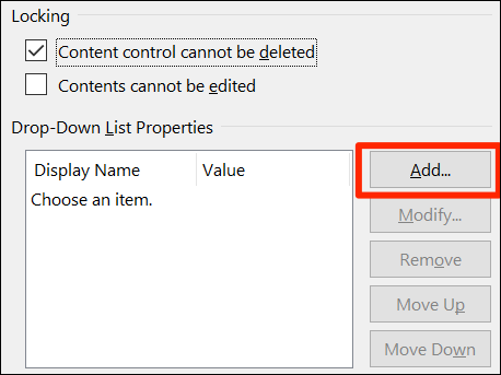 """Click """"Add"""" to add a drop-down list item on Word's """"Content Control Properties"""" window."""