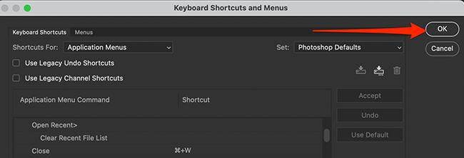 """Cliquez sur """"OK"""" dans la fenêtre """"Raccourcis clavier et menus"""" dans Photoshop."""