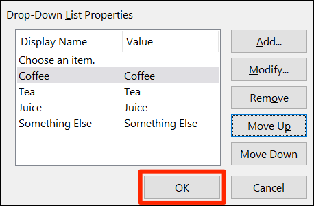 "Click ""OK"" to save the drop-down menu."