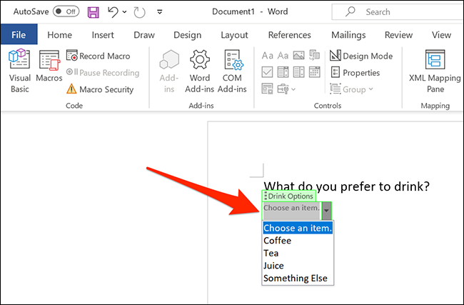 Click the drop-down menu on the Word window.
