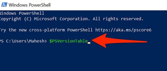 "Тип ""$ PSVersionTable"" в окне PowerShell."