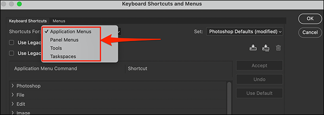"""Select an option from the """"Shortcuts For"""" drop-down in Photoshop."""