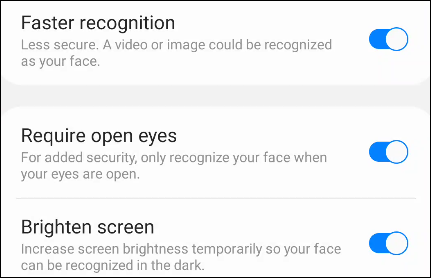more face recognition options