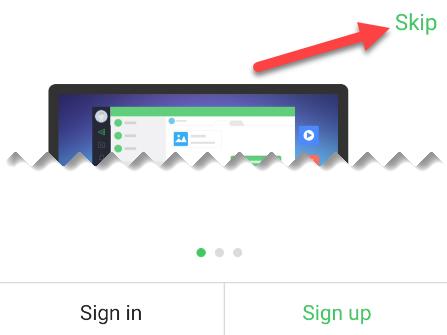 log in or skip