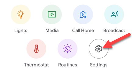 tap settings in google home app