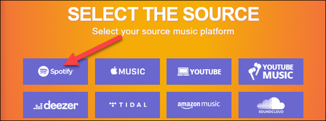 select spotify as the source
