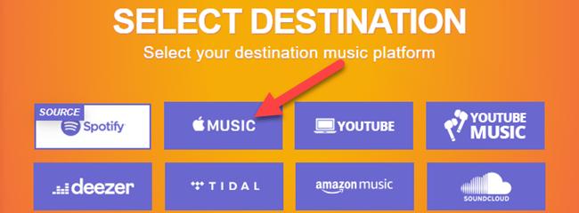 select apple music as the destination platform
