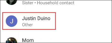 select a person in the list of contacts