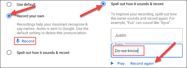 """Select """"Record Your Own"""" or """"Spell It Out"""""""
