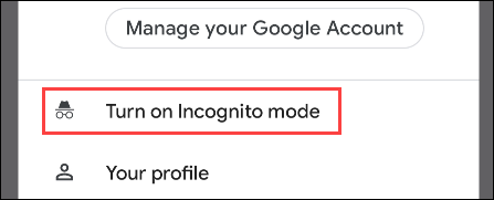 """Select """"Turn on Incognito Mode"""" from the menu."""