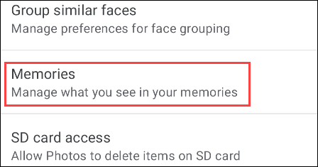 "Go to ""Memories."""