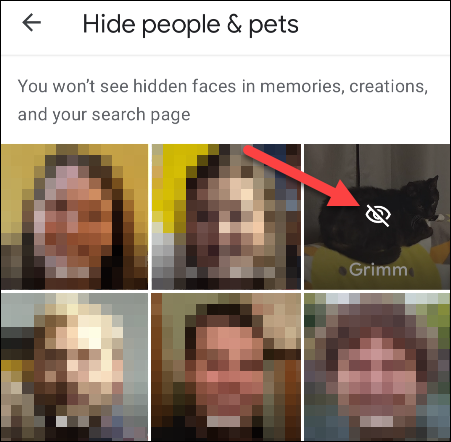 Select the people and pets to hide.