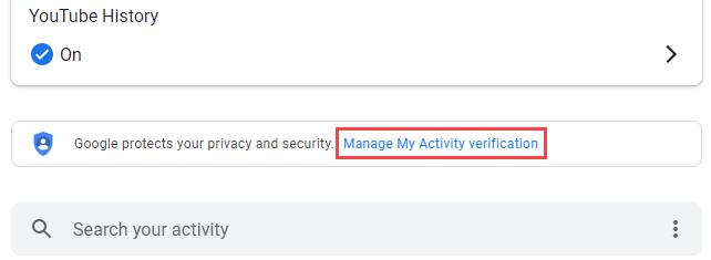 """Click """"Manage My Activity Verification."""""""