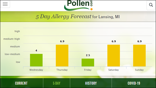 Pollen.com wesbite.