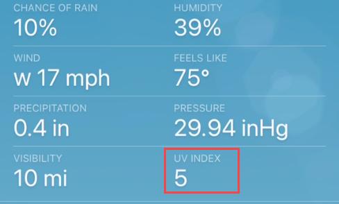 iPhone weather UV Index.
