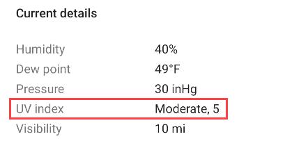 Google app UV Index.