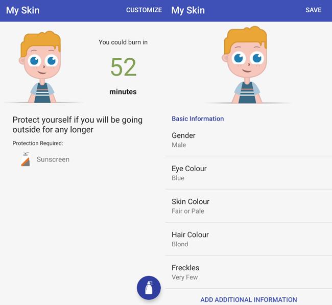 Skin information in UVLens.