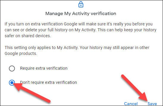 """Choose the """"Don't Require Extra Verification"""" option and click """"Save"""""""