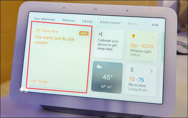 family note on home screen