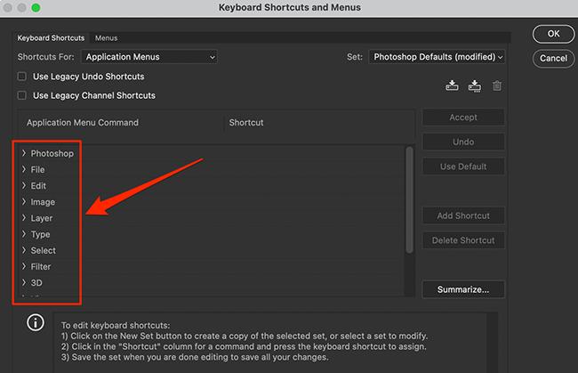 """Sélectionnez un menu dans la fenêtre """"Raccourcis clavier et menus"""" dans Photoshop."""