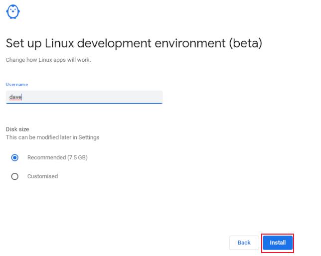 Ввод имени пользователя в настройке подсистемы Linux в ChromeOS