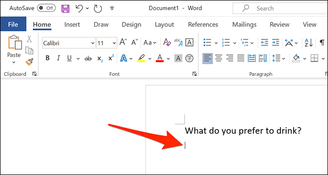 Select area to add a drop-down list in a Word document.