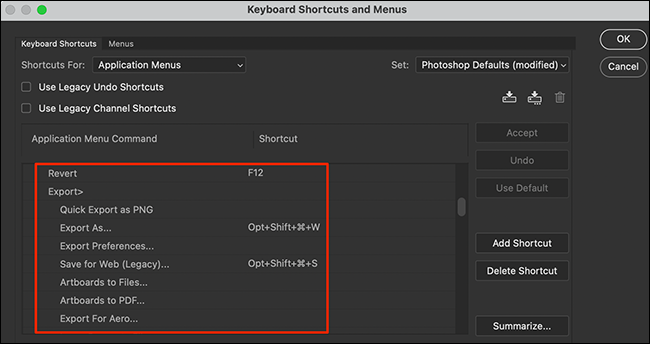 """Sélectionnez une fonction dans la fenêtre """"Raccourcis clavier et menus"""" de Photoshop."""