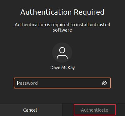 Password dialog box