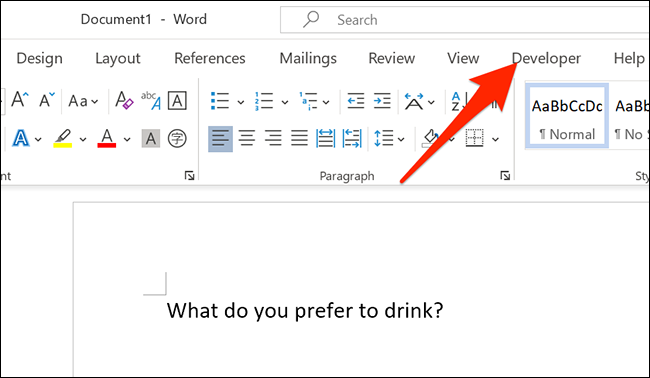 """Click """"Developer"""" at the top of the Word window."""