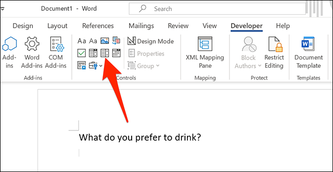 """Select the drop-down option in Word's """"Developer"""" menu."""