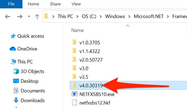 Open .NET Framework's most recent version folder in File Explorer.