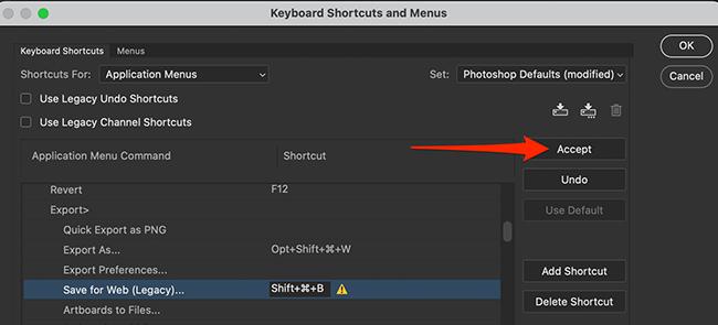 """Cliquez sur """"Accepter"""" dans la fenêtre """"Raccourcis clavier et menus"""" dans Photoshop."""
