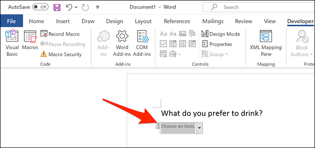 A drop-down list in a Word document.