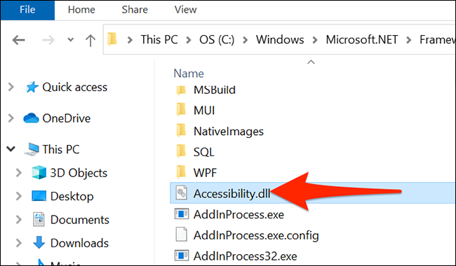 """Find the """"Accessibility.dll"""" file in File Explorer."""