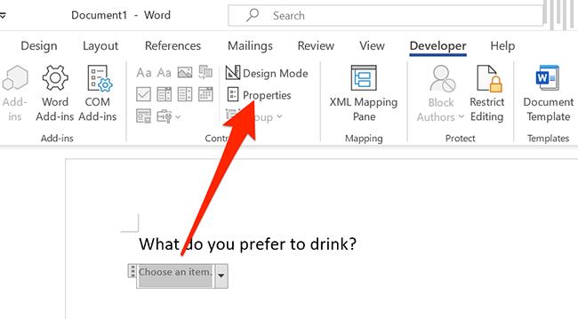 "Click ""Properties"" in Word's ""Developer"" menu."